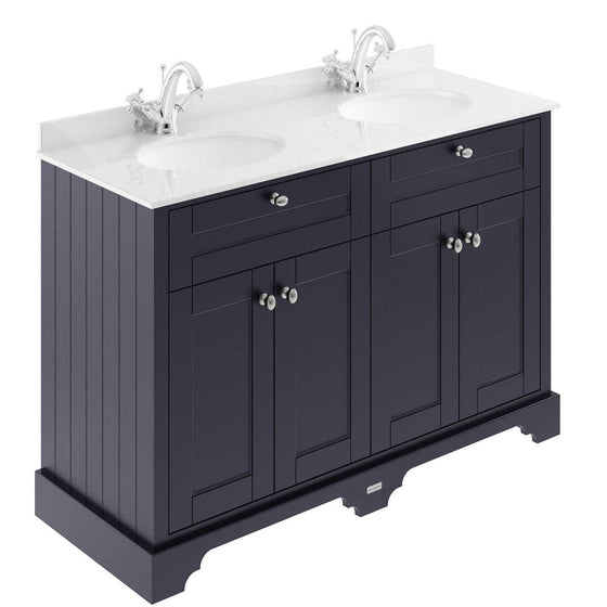 Old London 1200mm 2-Door Vanity Unit & Double Bowl White Marble Top 1 Tap hole - Twilight Blue - welovecouk