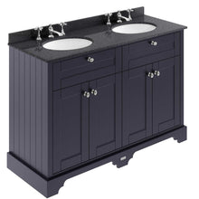 Old London 1200mm 2-Door Vanity Unit & Double Bowl Black Marble Top 3 Tap Holes - Twilight Blue - welovecouk