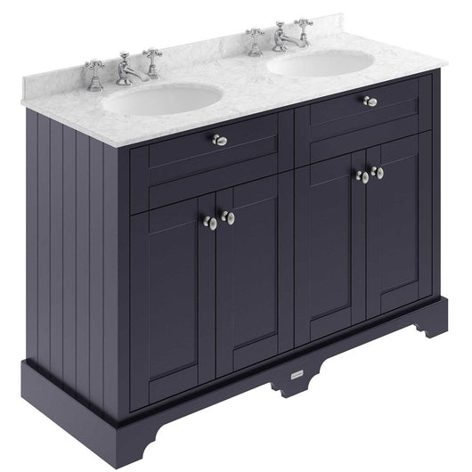 Old London 1200mm 2-Door Vanity Unit & Double Bowl Grey Marble Top 3 Tap Hole - Twilight Blue - welovecouk