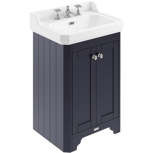 Old London 595mm 2-Door Vanity Unit & Ceramic Basin 3 Tap Hole - Twilight Blue - welovecouk