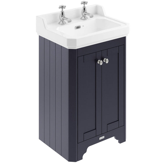 Old London 560mm 2-Door Vanity Unit & Ceramic Basin 2 Tap Hole - Twilight Blue - welovecouk