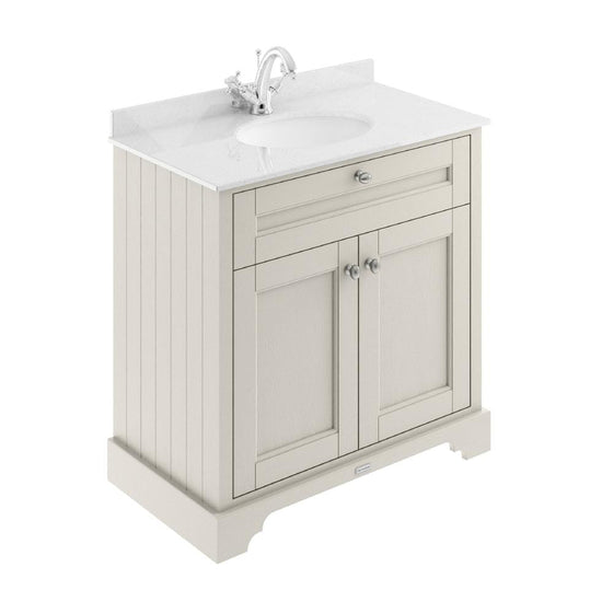 Old London 800mm 2-Door Vanity Unit & Single Bowl White Marble Top 1 Tap hole - Timeless Sand - welovecouk