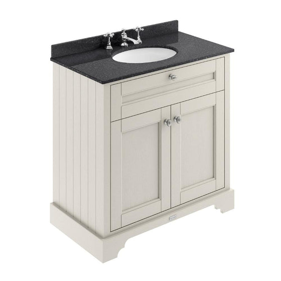 Old London 800mm 2-Door Vanity Unit & Single Bowl Black Marble Top 3 Tap Hole - Timeless Sand - welovecouk