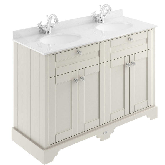 Old London 1200mm 2-Door Vanity Unit & Double Bowl White Marble Top 1 Tap Hole - Timeless Sand - welovecouk