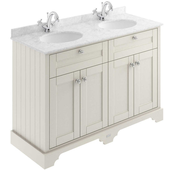 Old London 1200mm 2-Door Vanity Unit & Double Bowl Grey Marble Top 1 Tap Hole - Timeless Sand - welovecouk