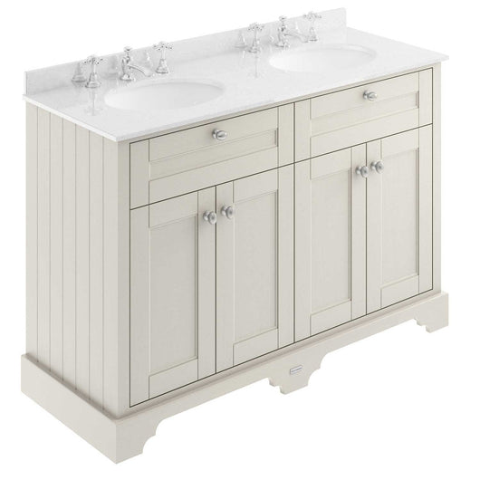 Old London 1200mm 2-Door Vanity Unit & Double Bowl White Marble Top 3 Tap Holes - Timeless Sand - welovecouk
