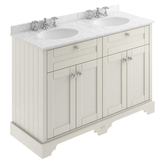 Old London 1200mm 2-Door Vanity Unit & Double Bowl Grey Marble Top 3 Tap Hole - Timeless Sand - welovecouk