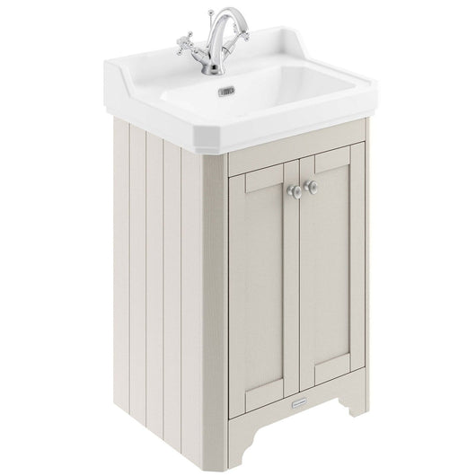 Old London 595mm 2-Door Vanity Unit & Ceramic Basin 1 Tap Hole - Timeless Sand - welovecouk