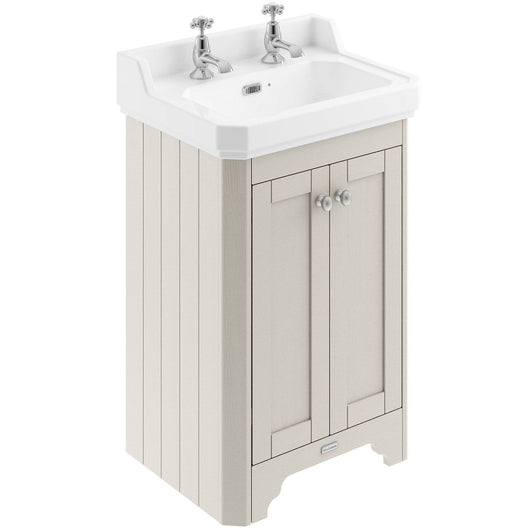 Old London 560mm 2-Door Vanity Unit & Ceramic Basin 2 Tap Hole - Timeless Sand - welovecouk
