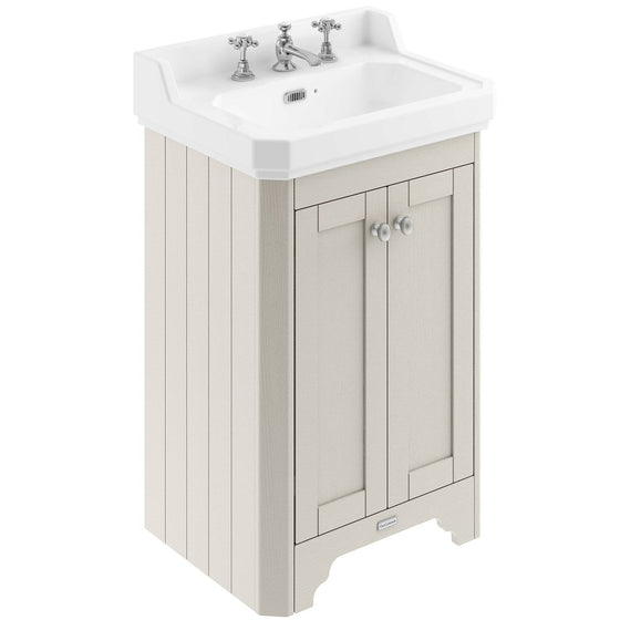Old London 560mm 2-Door Vanity Unit & Ceramic Basin 3 Tap Hole - Timeless Sand - welovecouk