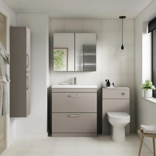 Mantello 500mm Back to Wall WC Unit - Brown Grey Avola