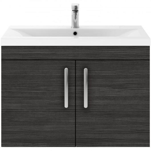 Mantello 800 Wall Hung 2-Door Basin Vanity Unit - Hacienda Black