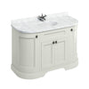 Burlington 1340mm Floor Standing Curved Vanity Unit with Minerva Worktop & Basin - Sand