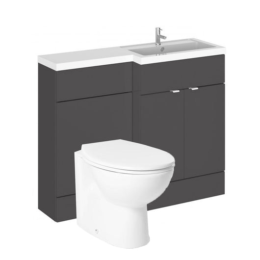 Siena 1100mm Vanity & WC Set with Round Pan - Gloss Grey