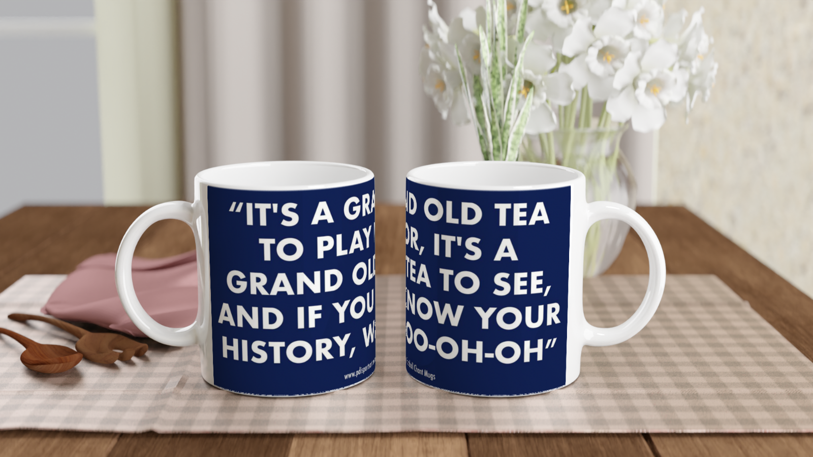 White ceramic Tottenham grand old tea chant mug