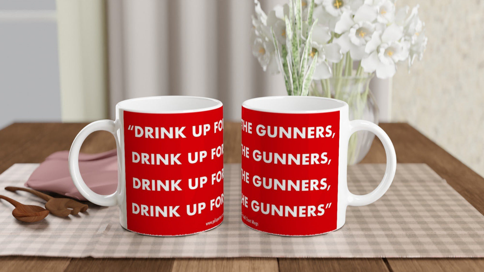 White ceramic Arsenal FC drink up mug