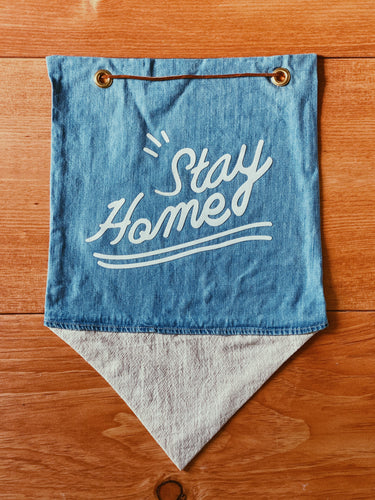Stay Home Banner in Recycled Denim and White