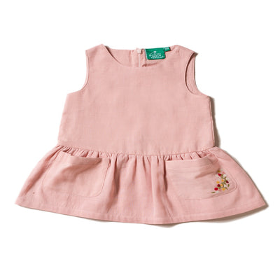 Dusty Pink Embroidered Pocket Dress
