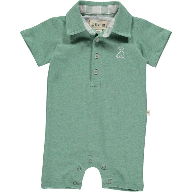 Green Cotton Polo Romper