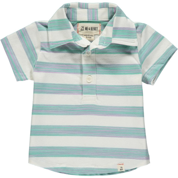 Green & White Stripe Polo