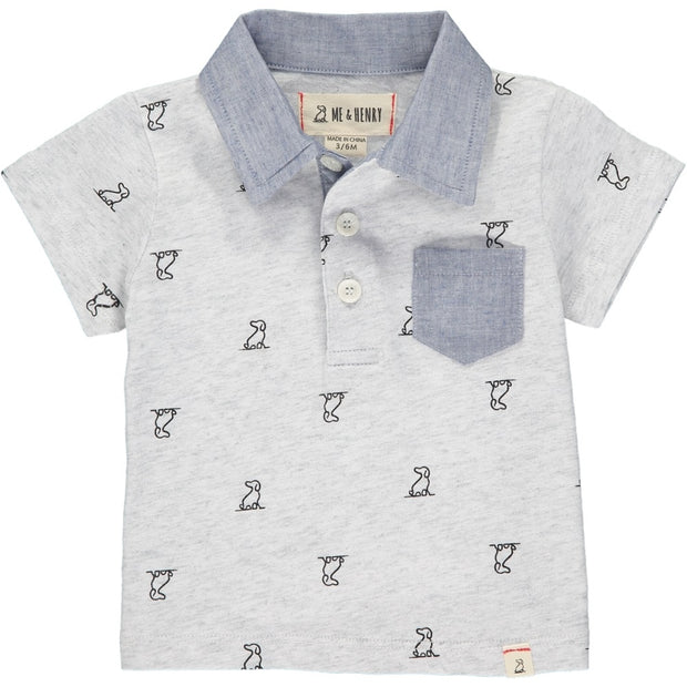 Grey Henry Print Polo with Chambray Pocket & Collar