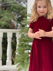 Vignette Justine Velvet Dress (Burgundy)