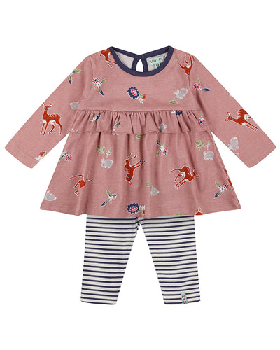 Lilly & Sid Little Deer Dress & Leggings Set