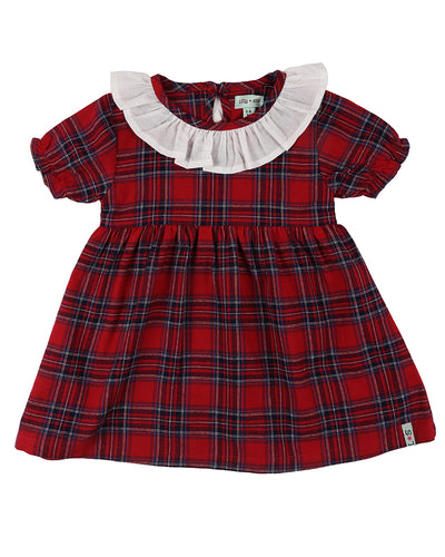 Lilly & Sid Red Plaid Dress with Ruffled Collar