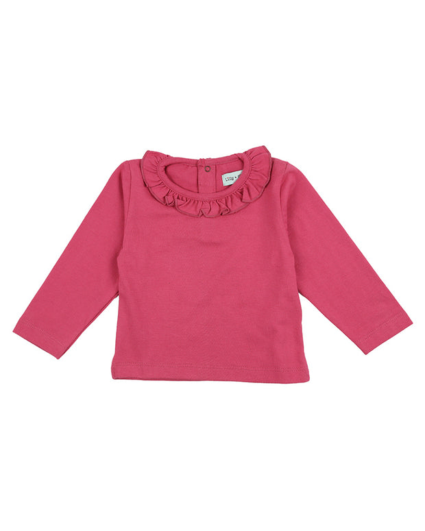 Lilly & Sid Pink Frill Neck Top
