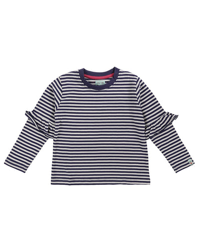 Lilly & Sid Navy & White Stripe Frill Sleeve Top