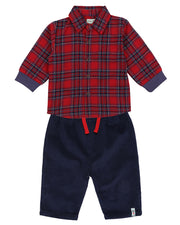 Lilly & Sid Plaid Shirt & Cord Trouser Set
