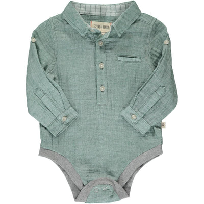 ME & HENRY Green Gauze Long Sleeve Onesie