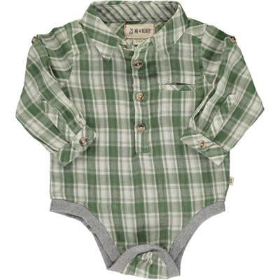ME & HENRY Green/Cream Plaid Onesie