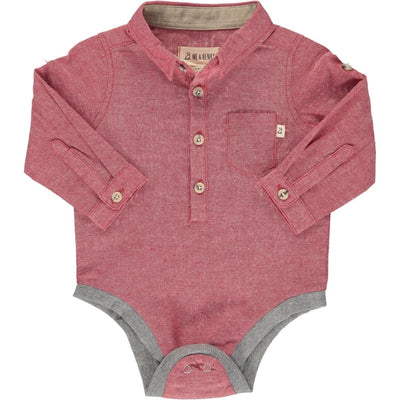 ME & HENRY Red Woven Long Sleeve Onesie