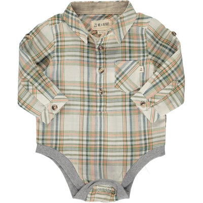 ME & HENRY Rust/Green Plaid Long Sleeve Onesie