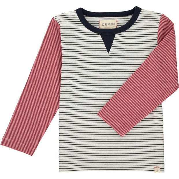 ME & HENRY White Stripe Colorblock Long Sleeve Tee