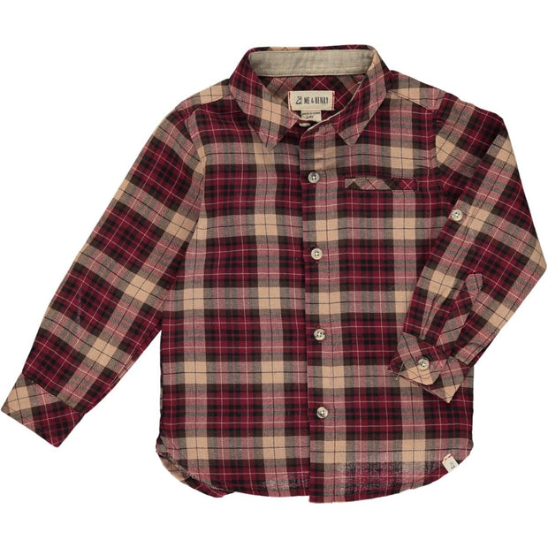ME & HENRY Wine/Black Plaid Long Sleeve Button Up