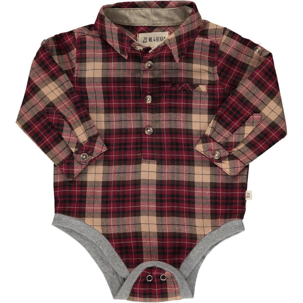 ME & HENRY Wine/Black Plaid Long Sleeve Onesie