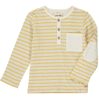 ME & HENRY Yellow/White Stripe Long Sleeve Henley