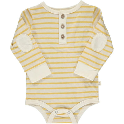 ME & HENRY Yellow/White Stripe Henley Onesie