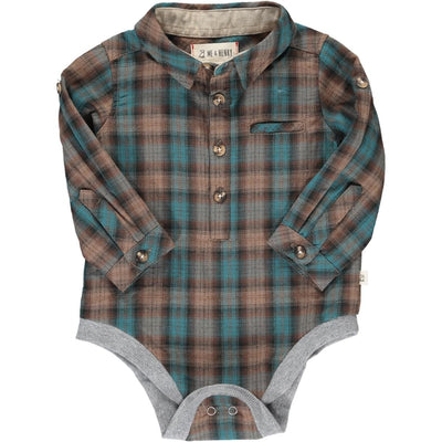 Me & Henry Brown/Blue Plaid Onesie