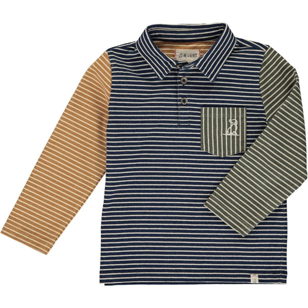 ME & HENRY Long Sleeve Navy Stripe Colorblock Polo
