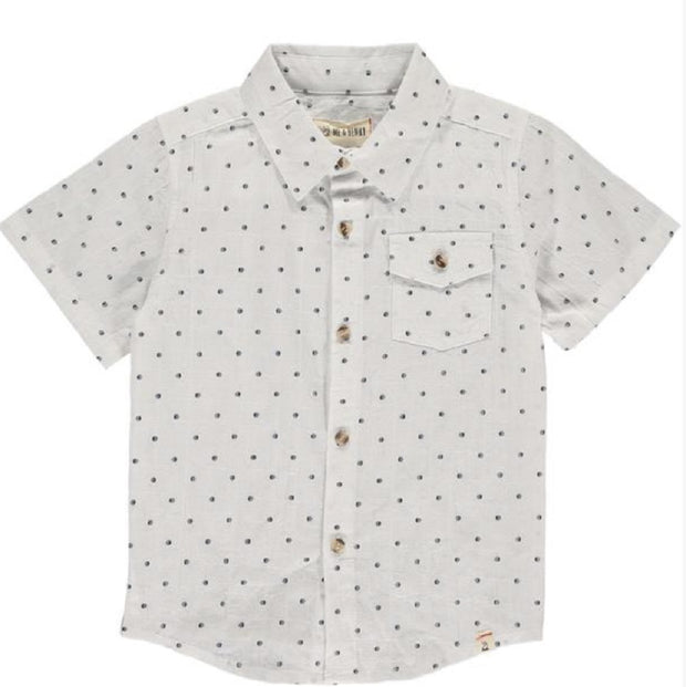 Navy Dot Button Up