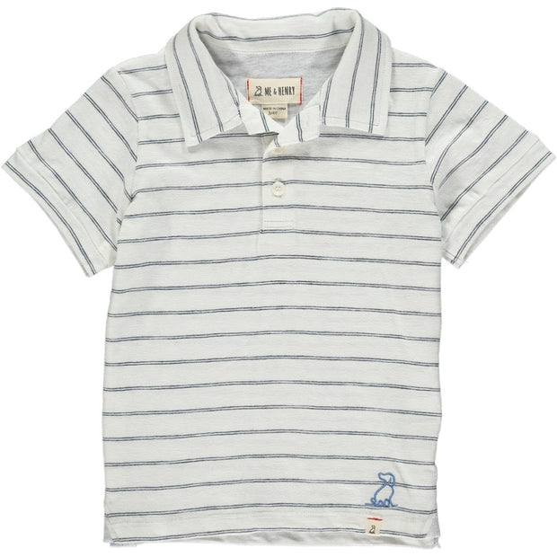 Navy Stripe Cotton Polo