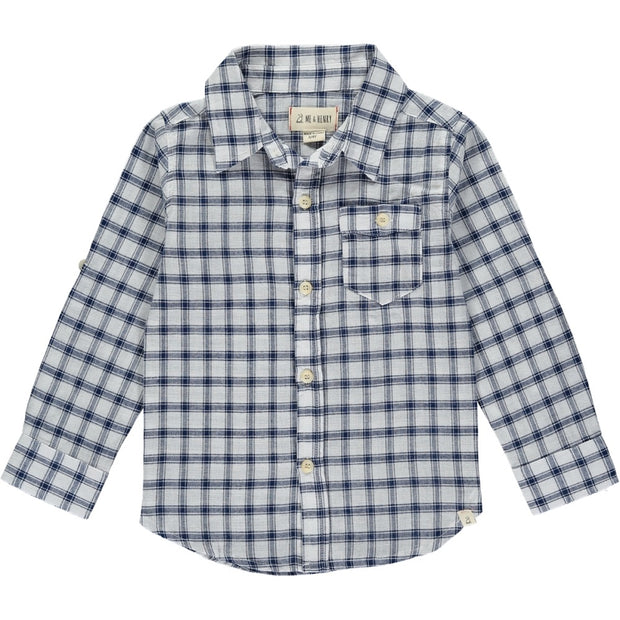 Navy Plaid Long Sleeve Button Up