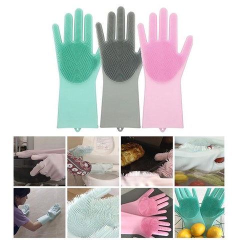 1 Pair Magic Silicon Dish Scrubber Glove - The Luffy Store
