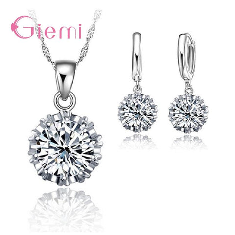 Solitaire 925 Sterling Silver Jewellery Set - The Luffy Store