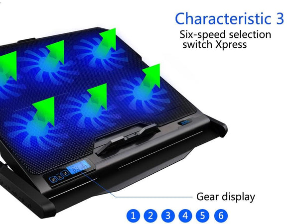 6 Fans Laptop Riser with 2 Built in USB Ports - The Luffy Store