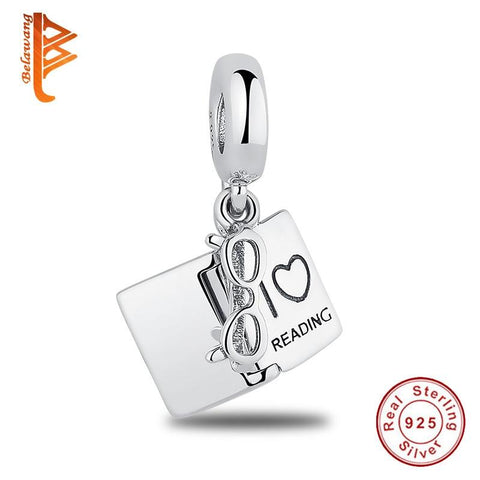 I Love Reading With Glasses Dangle 925 Sterling Silver Charm - The Luffy Store