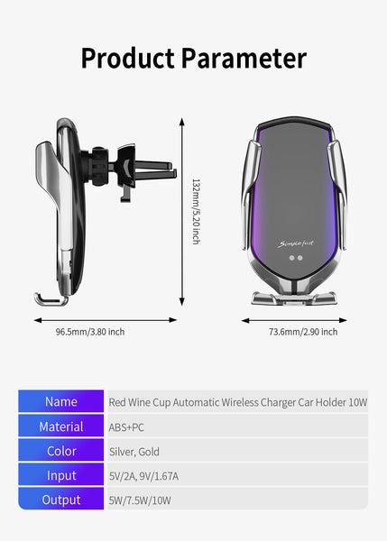 FDGAO 10W Automatic Fast Charging Qi Wireless Car Charger - The Luffy Store